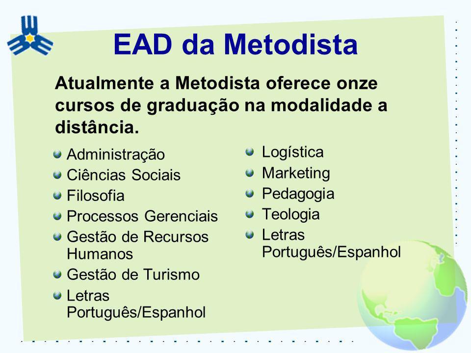 EAD da Metodista Administração Ciências Sociais Filosofia Processos Gerenciais Gestão de Recursos Humanos Gestão de Turismo Letras Português/Espanhol