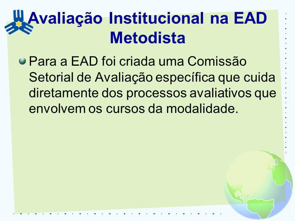 Avaliação Institucional na EAD Metodista Para a EAD foi criada uma Comissão Setorial de Avaliação específica que cuida diretamente dos processos avali