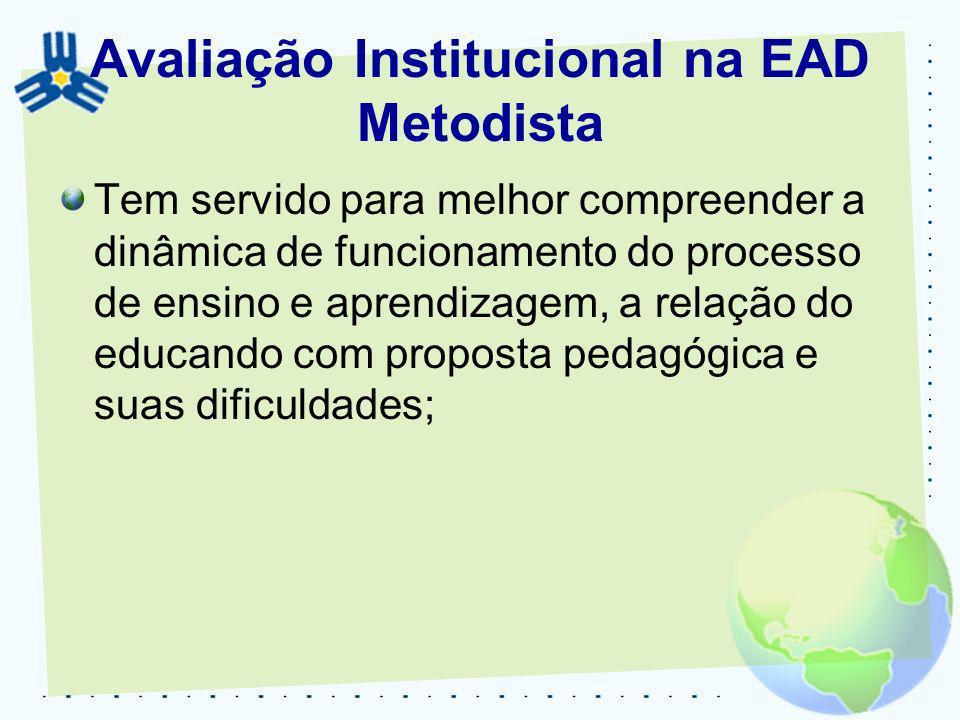 Avaliação Institucional na EAD Metodista Tem servido para melhor compreender a dinâmica de funcionamento do processo de ensino e aprendizagem, a relaç