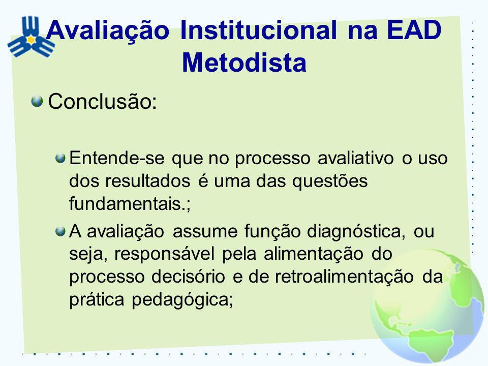Conclusão: Entende-se que no processo avaliativo o uso dos resultados é uma das questões fundamentais.; A avaliação assume função diagnóstica, ou seja