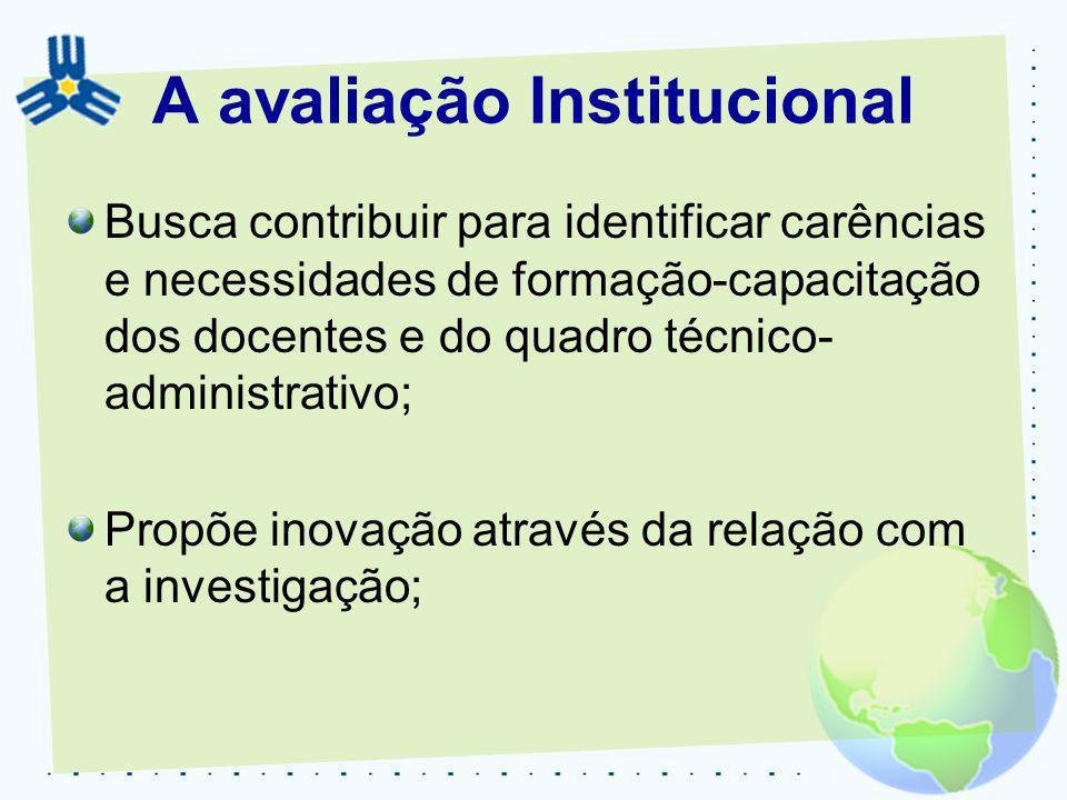 A avaliação Institucional Busca contribuir para identificar carências e necessidades de formação-capacitação dos docentes e do quadro técnico- adminis