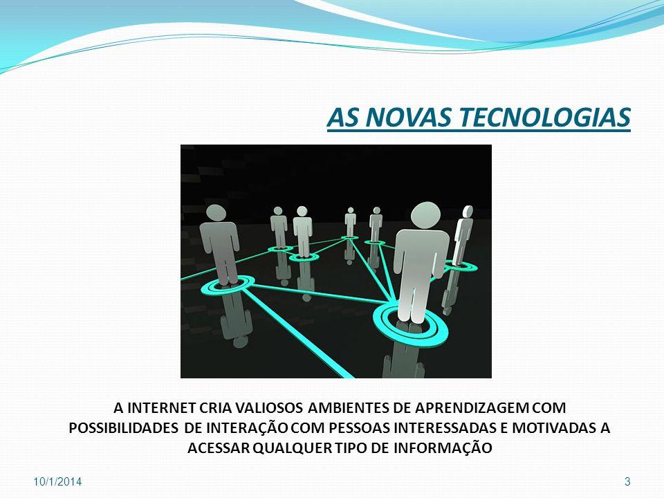 AS NOVAS TECNOLOGIAS A INTERNET CRIA VALIOSOS AMBIENTES DE APRENDIZAGEM COM POSSIBILIDADES DE INTERAÇÃO COM PESSOAS INTERESSADAS E MOTIVADAS A ACESSAR