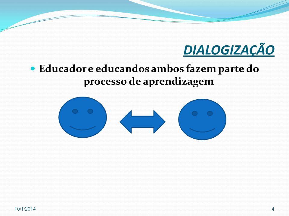 DIALOGIZAÇÃO Educador e educandos ambos fazem parte do processo de aprendizagem 10/1/20144