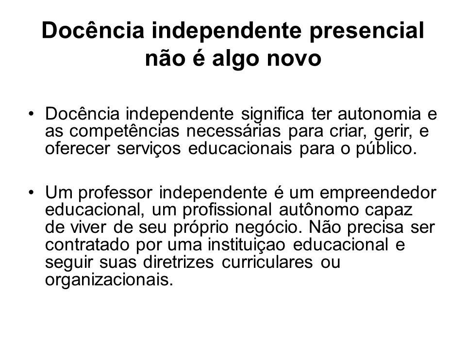 Exemplos: professor particular de Matemática, personal trainer, professor de guitarra, consultor de negócios que oferece palestras, workshops próprios etc.