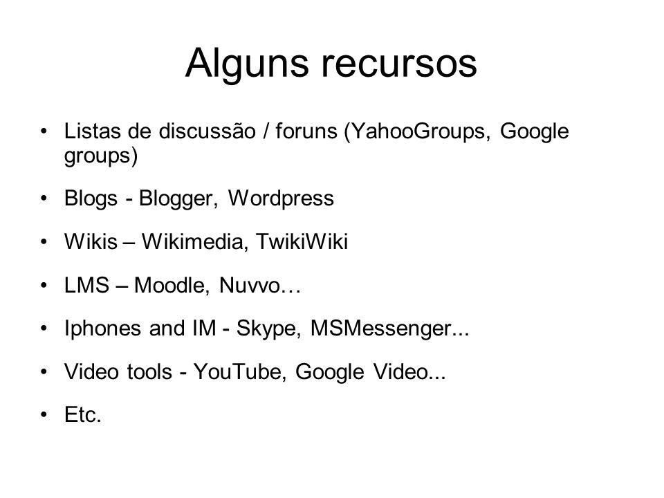 Alguns recursos Listas de discussão / foruns (YahooGroups, Google groups) Blogs - Blogger, Wordpress Wikis – Wikimedia, TwikiWiki LMS – Moodle, Nuvvo…