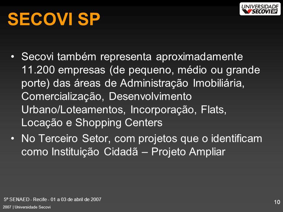 5º SENAED - Recife - 01 a 03 de abril de 2007 10 2007 | Universidade Secovi Secovi também representa aproximadamente 11.200 empresas (de pequeno, médio ou grande porte) das áreas de Administração Imobiliária, Comercialização, Desenvolvimento Urbano/Loteamentos, Incorporação, Flats, Locação e Shopping Centers No Terceiro Setor, com projetos que o identificam como Instituição Cidadã – Projeto Ampliar SECOVI SP