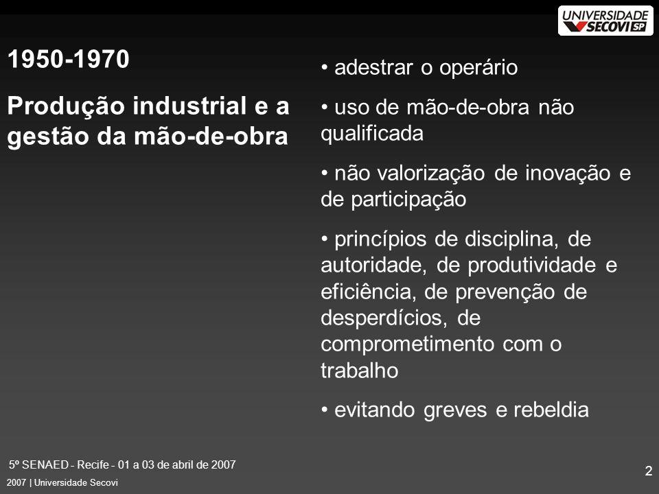 5º SENAED - Recife - 01 a 03 de abril de 2007 3 2007 | Universidade Secovi 1980 Era Pós-industrial agregação de novas tarefas trabalho em equipes / gestão de pessoas objetivos de aumento de produtividade, qualidade e melhoria da competitividade foco no conhecimento