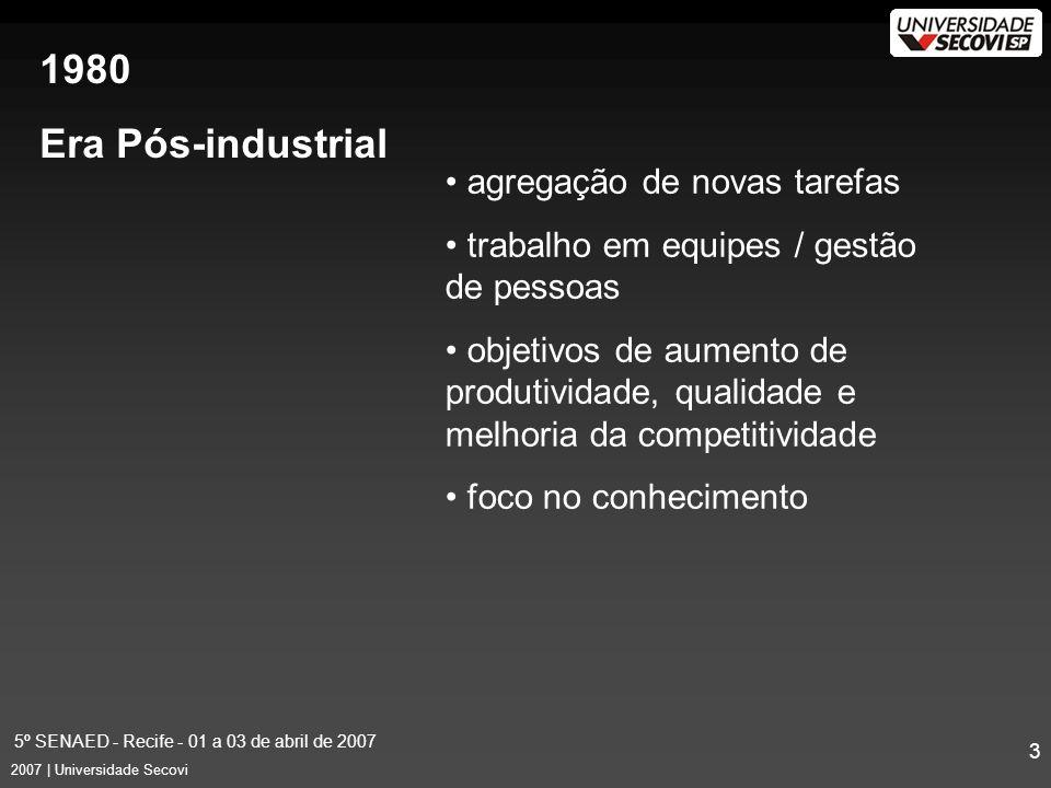 5º SENAED - Recife - 01 a 03 de abril de 2007 14 2007 | Universidade Secovi Dúvidas –Similares –Freqüentes Agilidade na solução de problemas Ampliação dos recursos existentes Situações Identificadas