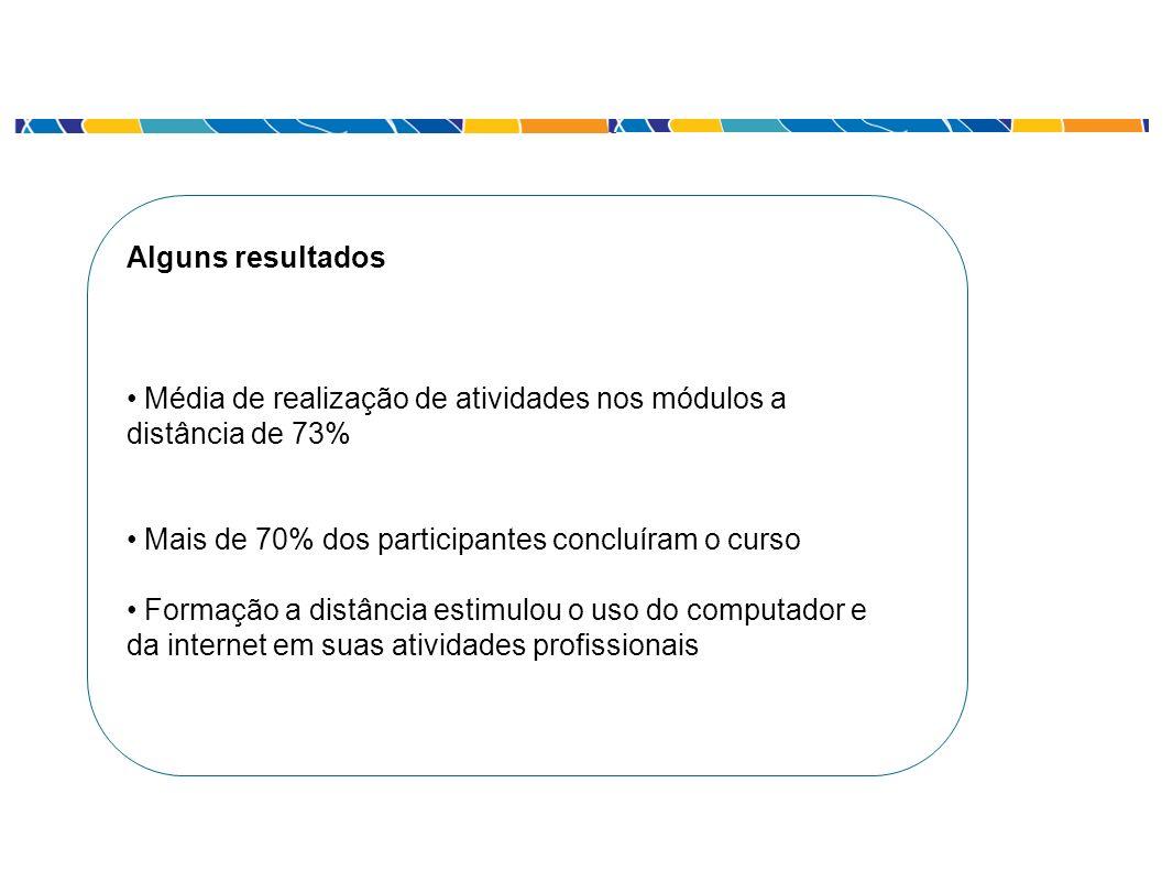 Alguns resultados Média de realização de atividades nos módulos a distância de 73% Mais de 70% dos participantes concluíram o curso Formação a distânc