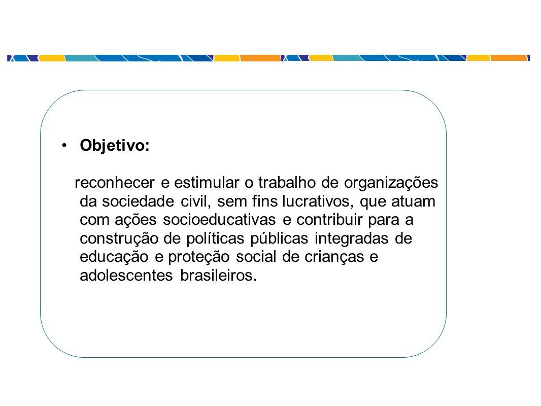 Objetivo: reconhecer e estimular o trabalho de organizações da sociedade civil, sem fins lucrativos, que atuam com ações socioeducativas e contribuir