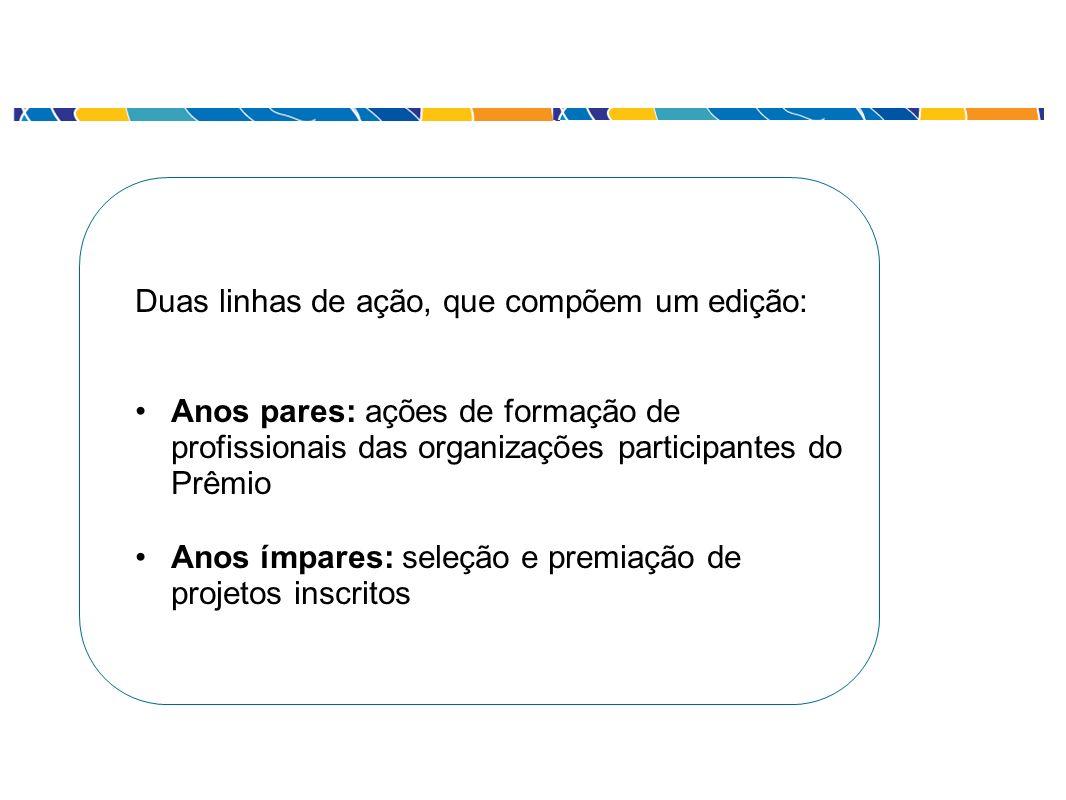 Duas linhas de ação, que compõem um edição: Anos pares: ações de formação de profissionais das organizações participantes do Prêmio Anos ímpares: sele