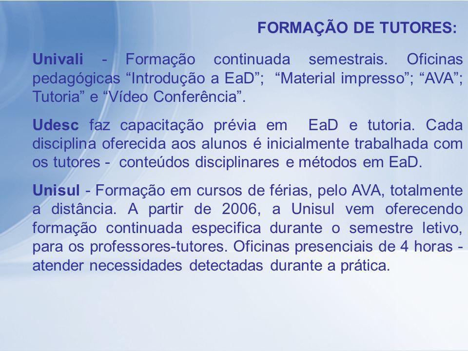 Univali - Formação continuada semestrais. Oficinas pedagógicas Introdução a EaD; Material impresso; AVA; Tutoria e Vídeo Conferência. Udesc faz capaci