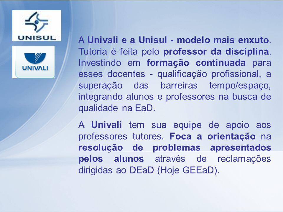 A Univali e a Unisul - modelo mais enxuto. Tutoria é feita pelo professor da disciplina. Investindo em formação continuada para esses docentes - quali