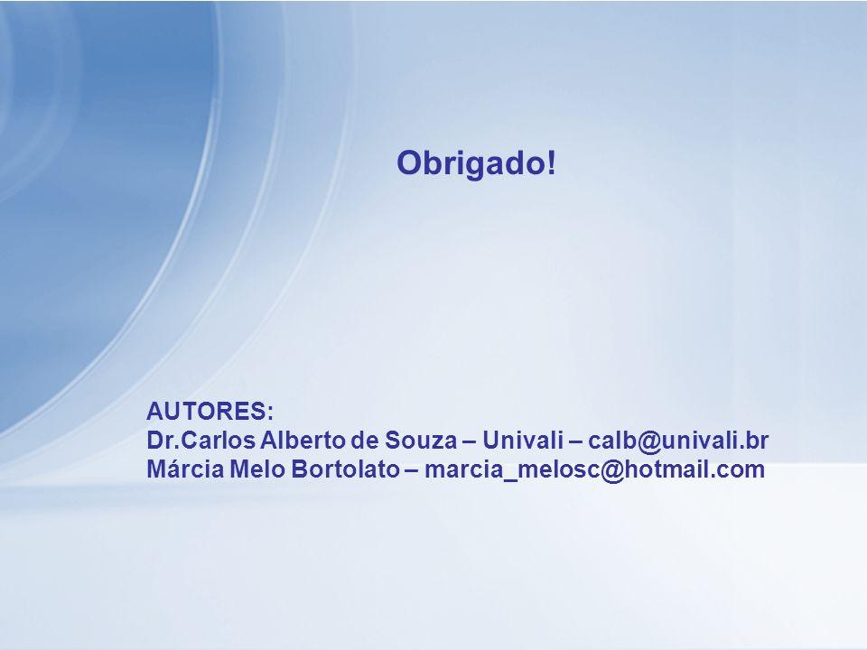 Obrigado! AUTORES: Dr.Carlos Alberto de Souza – Univali – calb@univali.br Márcia Melo Bortolato – marcia_melosc@hotmail.com