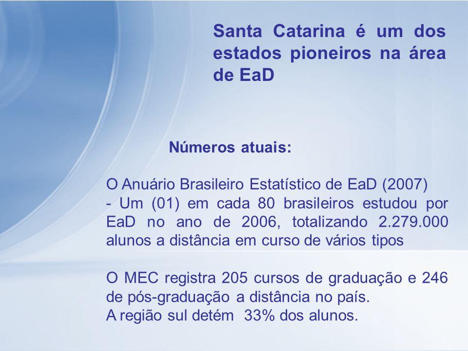 O Anuário Brasileiro Estatístico de EaD (2007) - Um (01) em cada 80 brasileiros estudou por EaD no ano de 2006, totalizando 2.279.000 alunos a distânc