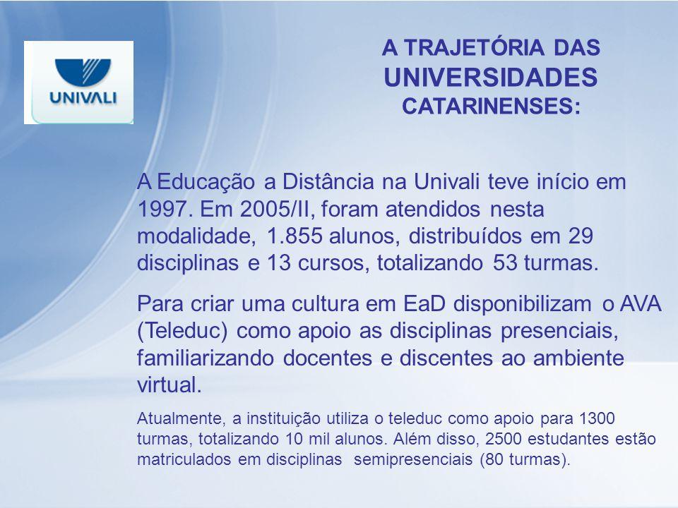 A TRAJETÓRIA DAS UNIVERSIDADES CATARINENSES: A Educação a Distância na Univali teve início em 1997. Em 2005/II, foram atendidos nesta modalidade, 1.85