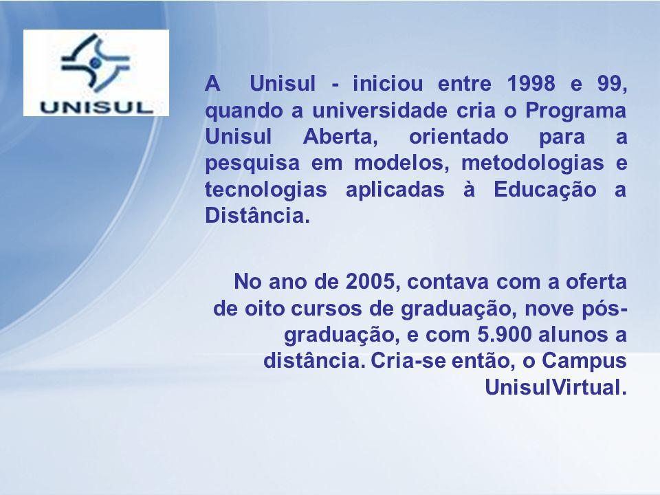 A Unisul - iniciou entre 1998 e 99, quando a universidade cria o Programa Unisul Aberta, orientado para a pesquisa em modelos, metodologias e tecnolog