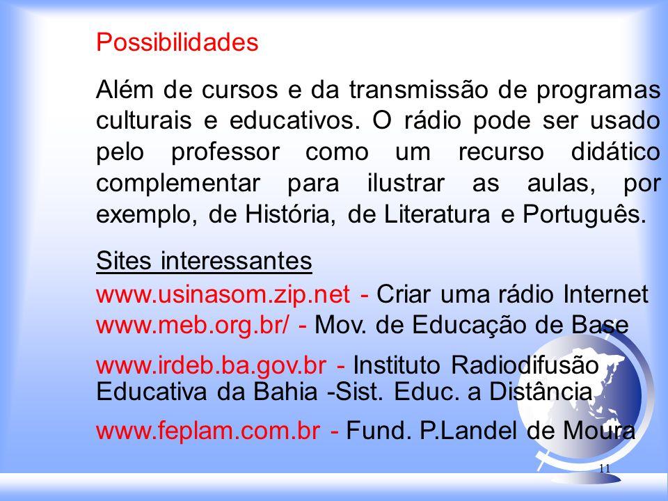 10 Função Educativa A Programação educativa também era desenvolvida pelas emissoras Clube de Pernambuco - anos 20: Rádio Escola do Distrito Federal (1933)- dirigida pelo educador brasileiro Anísio Texeira.