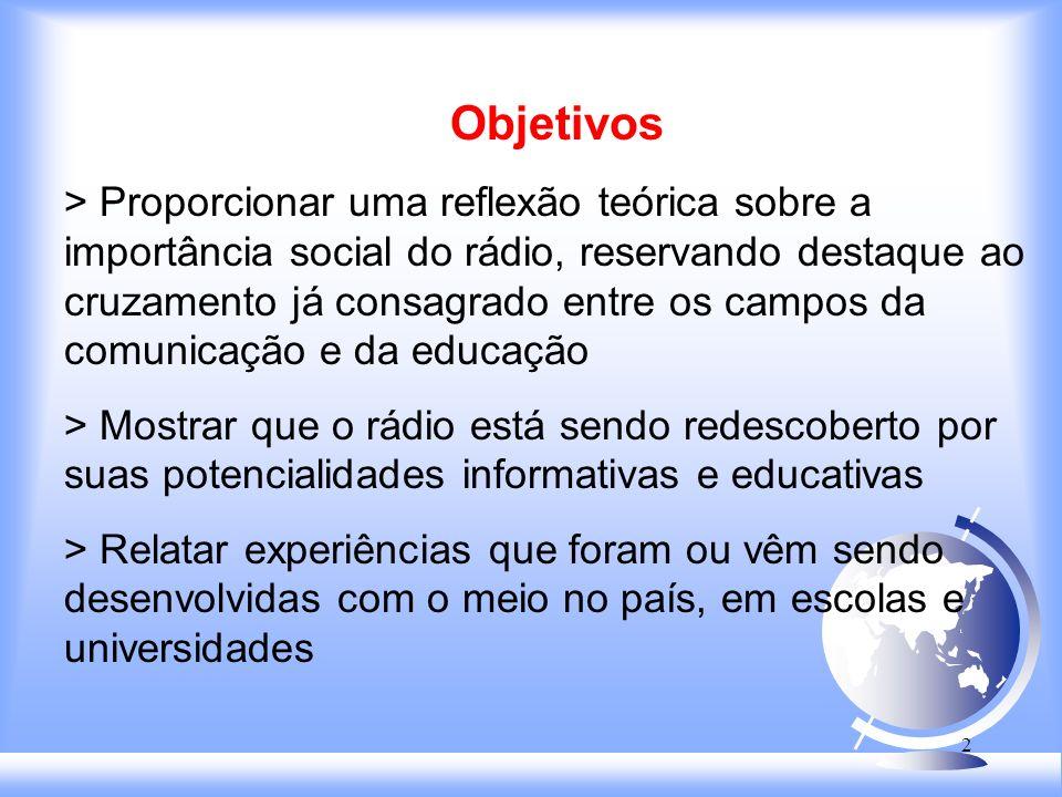 12 Conclusão O rádio tem demonstrado potencialidades informativas e educativas - emissoras se especializam em Jornalismo.