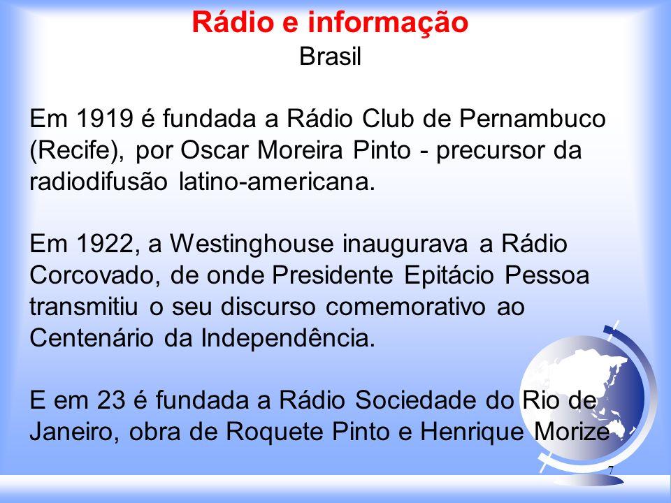 7 Rádio e informação Brasil Em 1919 é fundada a Rádio Club de Pernambuco (Recife), por Oscar Moreira Pinto - precursor da radiodifusão latino-americana.