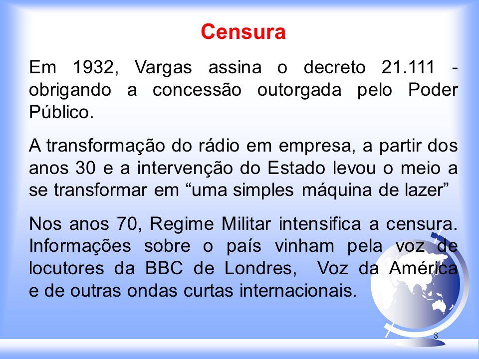 8 Censura Em 1932, Vargas assina o decreto 21.111 - obrigando a concessão outorgada pelo Poder Público.