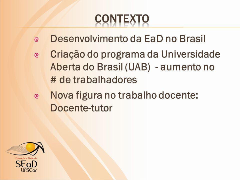 Desenvolvimento da EaD no Brasil Criação do programa da Universidade Aberta do Brasil (UAB) - aumento no # de trabalhadores Nova figura no trabalho docente: Docente-tutor
