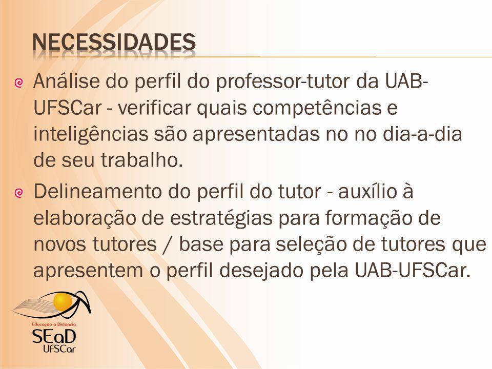 Análise do perfil do professor-tutor da UAB- UFSCar - verificar quais competências e inteligências são apresentadas no no dia-a-dia de seu trabalho.