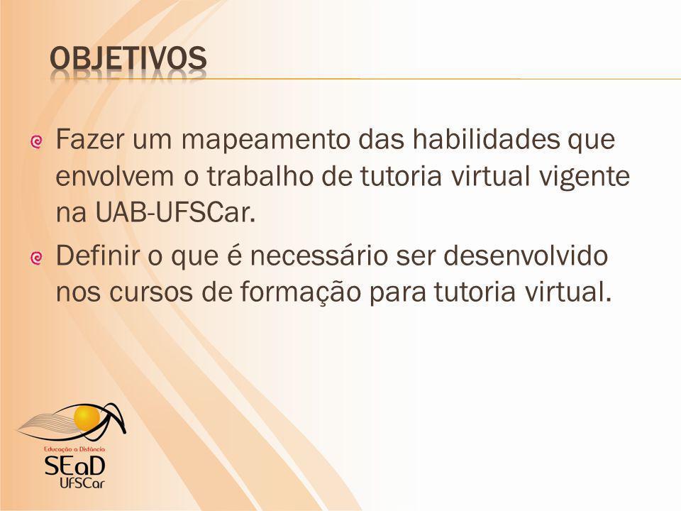 Fazer um mapeamento das habilidades que envolvem o trabalho de tutoria virtual vigente na UAB-UFSCar. Definir o que é necessário ser desenvolvido nos