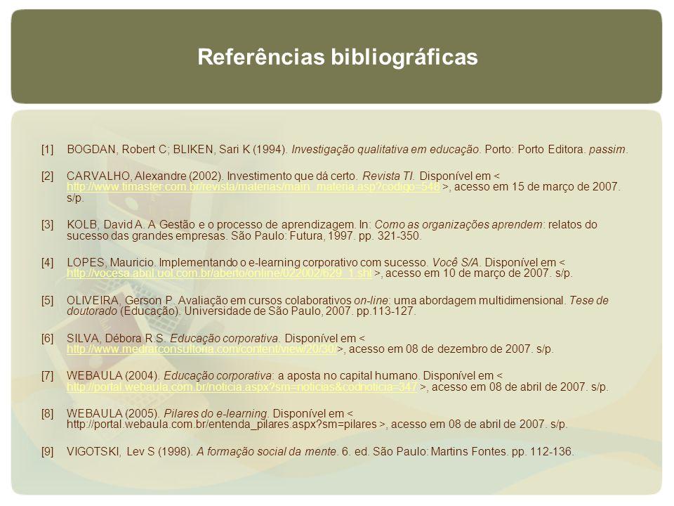 Referências bibliográficas [1]BOGDAN, Robert C; BLIKEN, Sari K (1994). Investigação qualitativa em educação. Porto: Porto Editora. passim. [2]CARVALHO