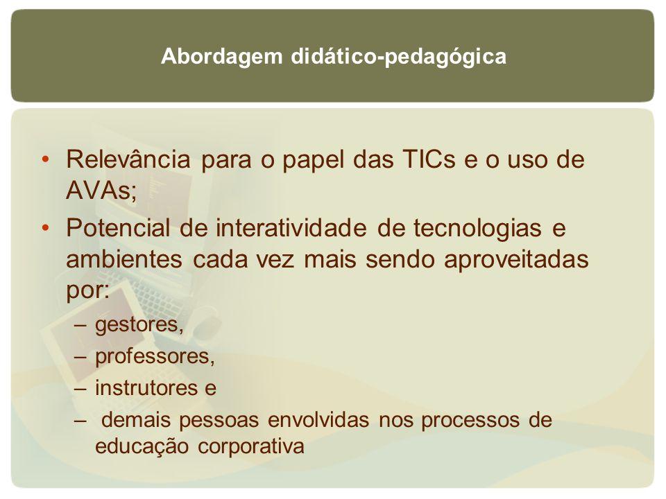Abordagem didático-pedagógica Relevância para o papel das TICs e o uso de AVAs; Potencial de interatividade de tecnologias e ambientes cada vez mais s