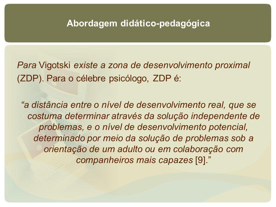 Abordagem didático-pedagógica Para Vigotski existe a zona de desenvolvimento proximal (ZDP). Para o célebre psicólogo, ZDP é: a distância entre o níve