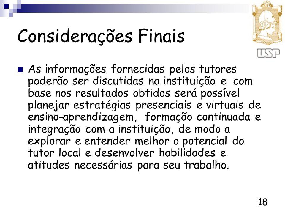 18 Considerações Finais As informações fornecidas pelos tutores poderão ser discutidas na instituição e com base nos resultados obtidos será possível