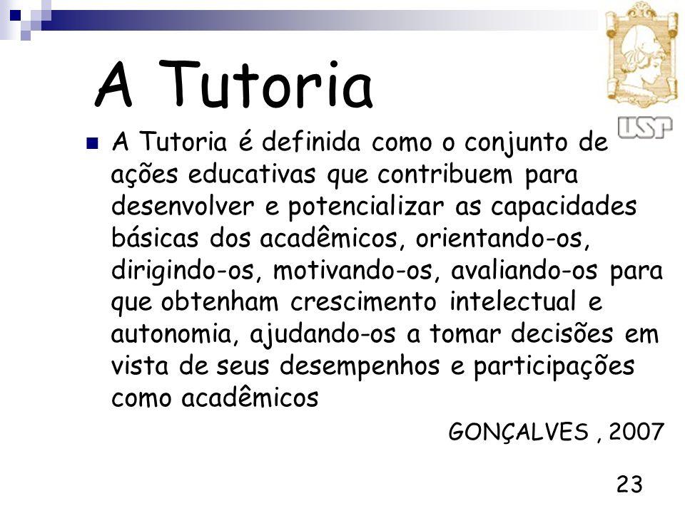 23 A Tutoria A Tutoria é definida como o conjunto de ações educativas que contribuem para desenvolver e potencializar as capacidades básicas dos acadê