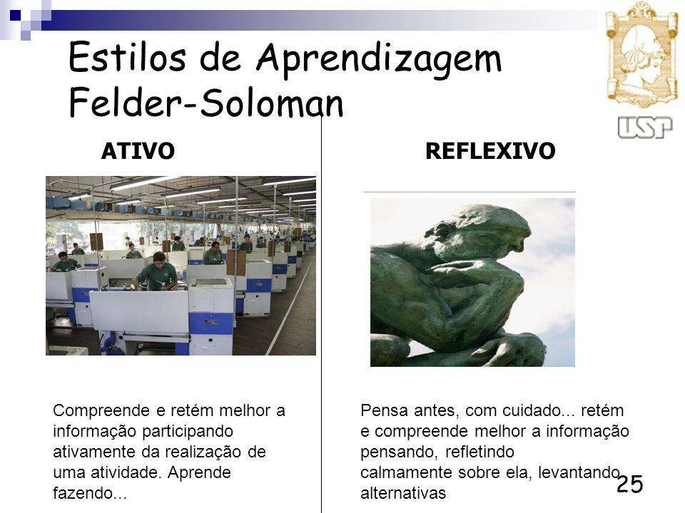 25 Estilos de Aprendizagem Felder-Soloman ATIVOREFLEXIVO Compreende e retém melhor a informação participando ativamente da realização de uma atividade