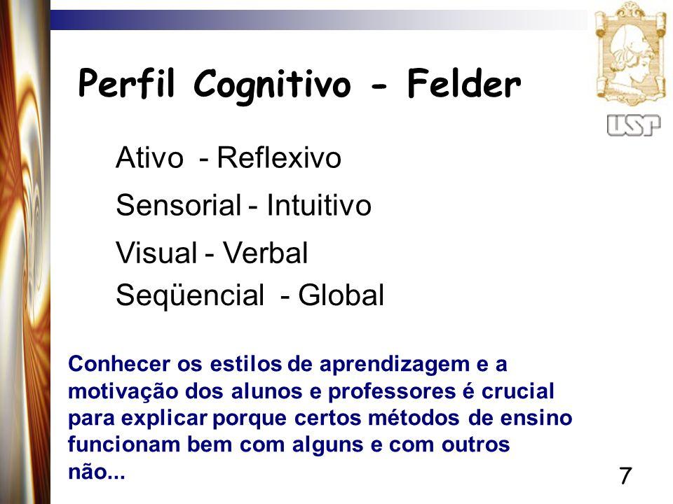 7 Perfil Cognitivo - Felder Ativo - Reflexivo Sensorial - Intuitivo Seqüencial - Global Visual - Verbal Conhecer os estilos de aprendizagem e a motiva