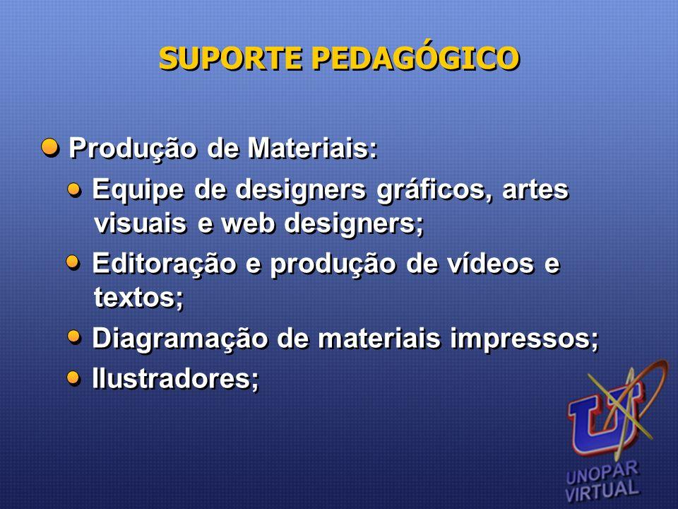 Produção de Materiais: Equipe de designers gráficos, artes visuais e web designers; Editoração e produção de vídeos e textos; Diagramação de materiais