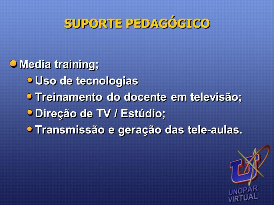 Media training; Uso de tecnologias Treinamento do docente em televisão; Direção de TV / Estúdio; Transmissão e geração das tele-aulas. Media training;