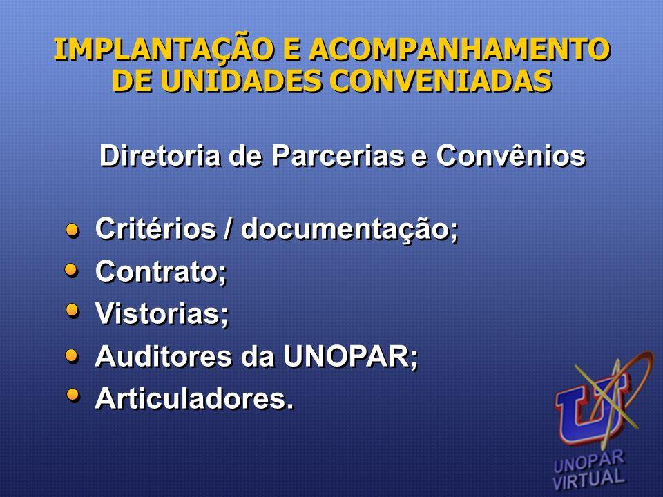 IMPLANTAÇÃO E ACOMPANHAMENTO DE UNIDADES CONVENIADAS Diretoria de Parcerias e Convênios Critérios / documentação; Contrato; Vistorias; Auditores da UN