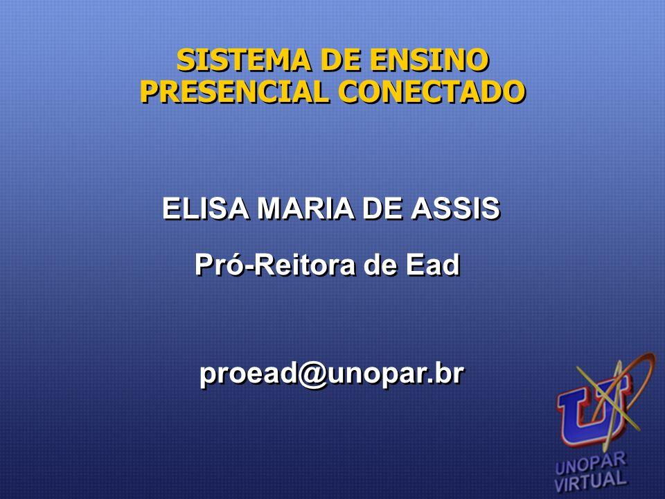 SISTEMA DE ENSINO PRESENCIAL CONECTADO ELISA MARIA DE ASSIS Pró-Reitora de Ead ELISA MARIA DE ASSIS Pró-Reitora de Ead proead@unopar.br