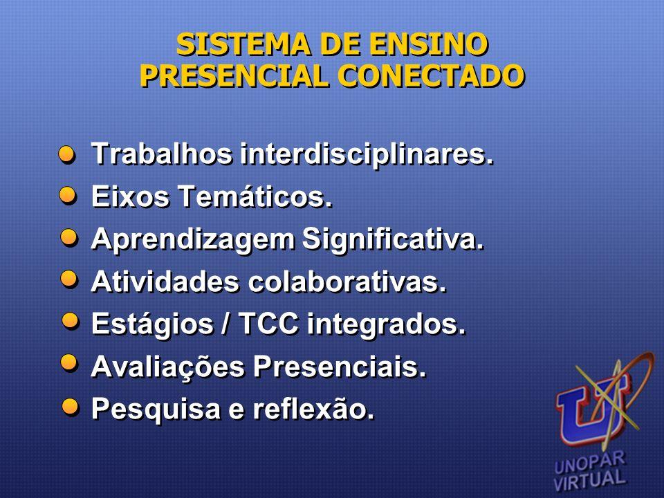 Trabalhos interdisciplinares. Eixos Temáticos. Aprendizagem Significativa. Atividades colaborativas. Estágios / TCC integrados. Avaliações Presenciais