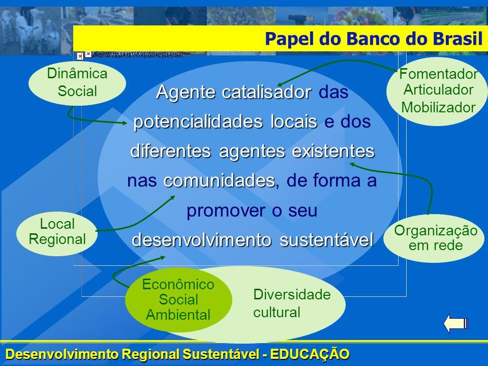 Desenvolvimento Regional Sustentável - EDUCAÇÃO Papel do Banco do Brasil Agente catalisador potencialidades locais diferentes agentes existentes comun