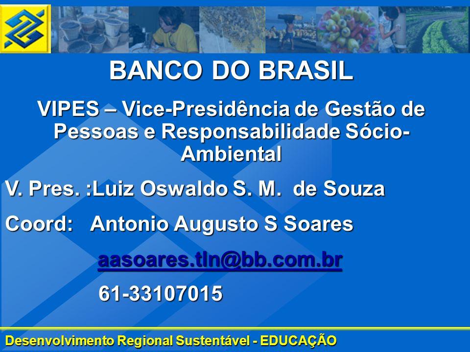Desenvolvimento Regional Sustentável - EDUCAÇÃO BANCO DO BRASIL VIPES – Vice-Presidência de Gestão de Pessoas e Responsabilidade Sócio- Ambiental V. P