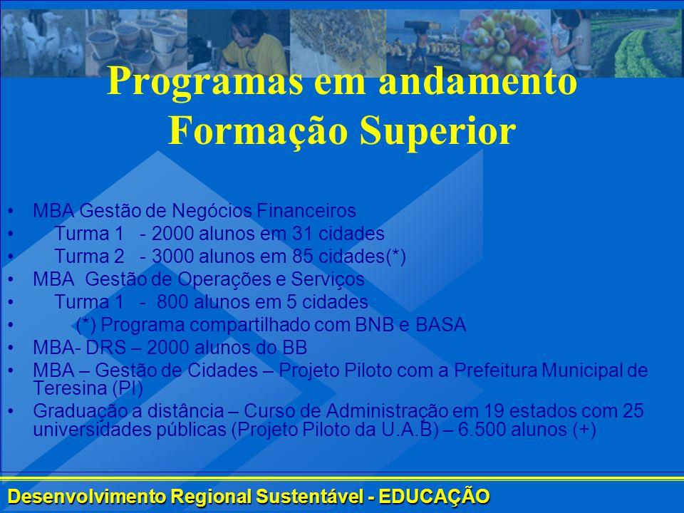 Desenvolvimento Regional Sustentável - EDUCAÇÃO Programas em andamento Formação Superior MBA Gestão de Negócios Financeiros Turma 1 - 2000 alunos em 3