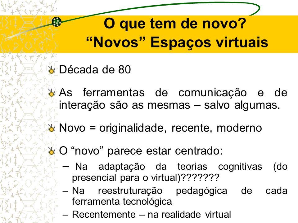 O que tem de novo? Novos Espaços virtuais Década de 80 As ferramentas de comunicação e de interação são as mesmas – salvo algumas. Novo = originalidad
