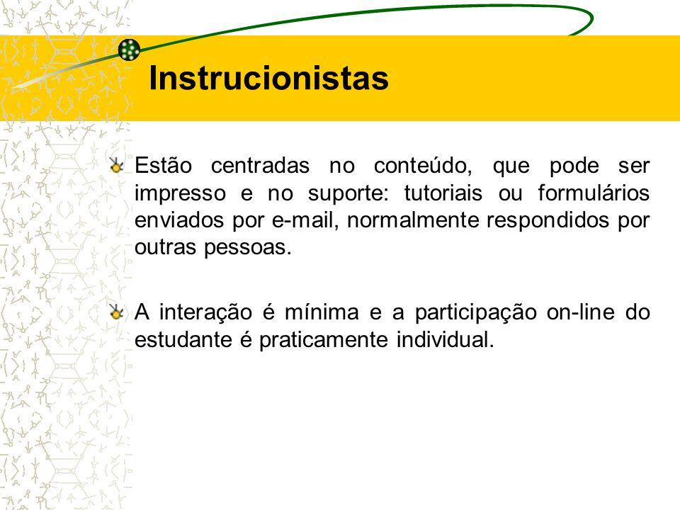 Instrucionistas Estão centradas no conteúdo, que pode ser impresso e no suporte: tutoriais ou formulários enviados por e-mail, normalmente respondidos