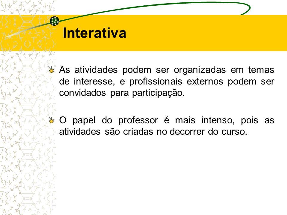 As atividades podem ser organizadas em temas de interesse, e profissionais externos podem ser convidados para participação. O papel do professor é mai
