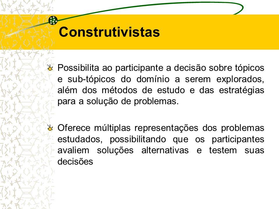Possibilita ao participante a decisão sobre tópicos e sub-tópicos do domínio a serem explorados, além dos métodos de estudo e das estratégias para a s