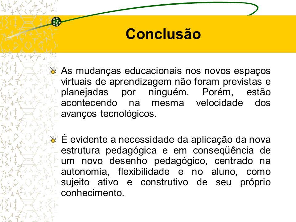 Conclusão As mudanças educacionais nos novos espaços virtuais de aprendizagem não foram previstas e planejadas por ninguém. Porém, estão acontecendo n