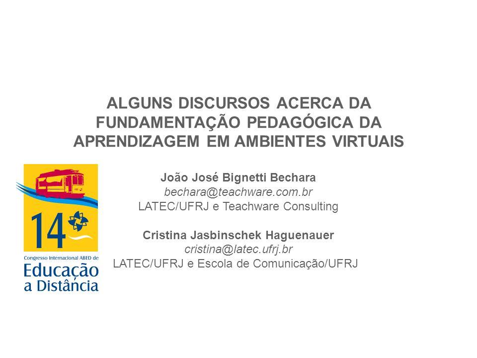 ALGUNS DISCURSOS ACERCA DA FUNDAMENTAÇÃO PEDAGÓGICA DA APRENDIZAGEM EM AMBIENTES VIRTUAIS João José Bignetti Bechara bechara@teachware.com.br LATEC/UF