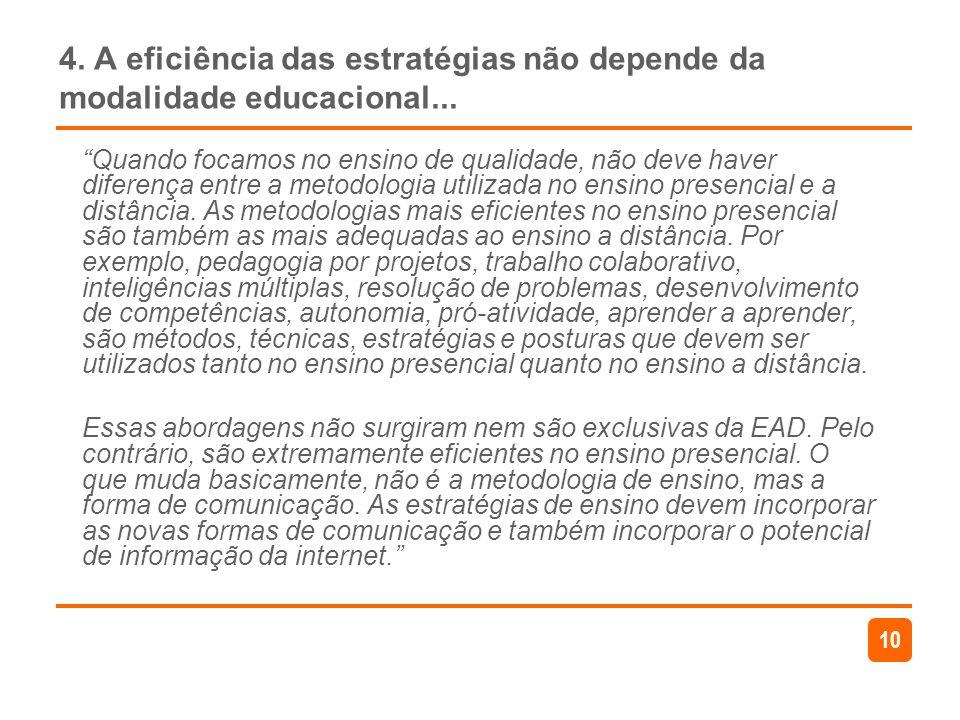 10 4. A eficiência das estratégias não depende da modalidade educacional... Quando focamos no ensino de qualidade, não deve haver diferença entre a me